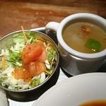 80668345 - ランチセットのサラダとスープ