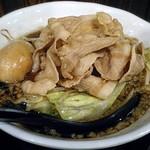 麺屋わっしょい - 【男の根性黒醤油 + 肉男盛 + 煮玉子】¥799 + ¥216 + ¥162