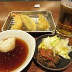 博多天ぷら たかお - 本日は定食や天丼にせず、スーパードライセット1,080円にしました。
