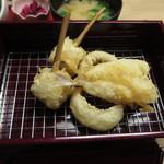 天ぷら やす田 - きす、めごち、いわしの梅肉巻き