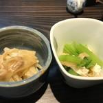 オ バロン ルージュ - 白ネギの味噌炒めと小松菜と揚げの煮浸し(2018.2.10)