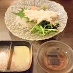 縁の鈴なり - 生湯葉刺身は2種類の塩と出汁醤油で頂きました。