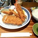 とんかつ料理 歩香 - 海老 ロースかつ盛り合わせ膳 1,200円
