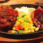 近江牛Steak&Wine 山村牛兵衛 - 近江牛ハンバーグと近江牛ステーキのコンボ