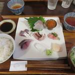 ごはんや 飯すけ - 刺身盛り合わせ定食1,600円。