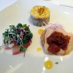 オテルグレージュ - 「フレンチコース」前菜3点盛 (若鶏胸肉の低温調理ソースチュミチュリ・ブリのカルパッチョ・イカとマグロのタルタル)