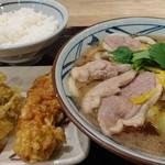 丸亀製麺 - 限定/鴨ねぎうどん大+かしわ天+舞茸天+ごはん