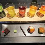 祇園 北川半兵衞 - 茶乃木2800円(お茶5種飲み比べ+ひと口菓子5種)