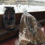 ストーブ列車 - 料理写真:生ビールとスルメを購入