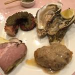 ル ビストロ - 前菜盛り合わせ。ビゴール豚、牡蠣、明石の蛸、白子のムニエル。