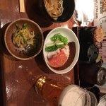 80787611 - お通し(タコのカルパッチョ+そば+えびと菊の和え物)
