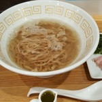 UMAMI SOUP Noodles 虹ソラ - 「伊吹産オリーブいりこの塩ソバ バーニャカウダ風煮干オイル付き」(2018年2月10日)