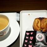 サンマルクカフェ - ハートチョコクロ&ブレンドコーヒー (2018/2)