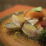 オステリア クアルタ デル ボッテゴン - 本日 柳橋市場より鮮魚のカルパッチョ さわら☆