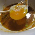 べんべら庵 - 温泉卵の黄身を・・・。