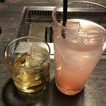 網走ビール館 - 梅酒と白桃おろし