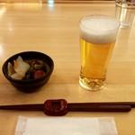 すずや - お新香、生ビール(クーポン)