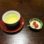 Hiiragiyaryokan - 煎茶、梅干し