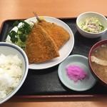 三忠食堂 - アジフライ 定食セット