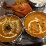 インドレストランニューデリー - エビとチキンのツーカレーセット