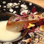 東 - 料理写真:*鰆はカリッと焼かれいい味わい。 白みその優しい味わいにナッツの香ばしが加わるソースで頂くとより美味しい。