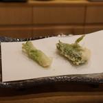 天ぷら やじま。 - たらの芽、すずき大葉巻き