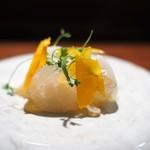TACUBO - 平目のカルパッチョ カラスミ 燻製リコッタチーズ