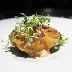 TACUBO - 王様椎茸のフリット アーモンドとゴルゴンゾーラと椎茸の軸のソース