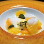 TACUBO - パンナコッタ パッションフルーツのソース ゼラニウムのオイルの泡 デコポンなどの柑橘