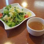 太陽のカフェ - ランチのサラダ、スープ