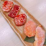 肉いち枚 - おすすめ5点盛り合わせ 1350円       いちぼ、ハラミ、カイノミ、タン元、霧島豚トロ