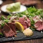 やきとん えん家 - 2018.2 肉刺し三種盛り合わせ(980円)レバー、ハツ、タン