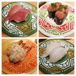金沢回転寿司 輝らり - 左上のブリはイマイチ。ガス海老もいただきました!