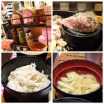 ステーキとホルモン佐藤 - ◆石が用意されていますので、お肉の焼き加減は好みに調節できます。 ◆卓上には数種類のソースやニンニクチップなどが置かれていました。 ◆ご飯は普通に美味しい。 ◆お味噌汁は普通。
