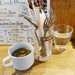 ビアバル HOUSE of BEER - チキンオーバーライス800円のスープ