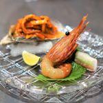 鉢山 - 牡蠣塩辛・ボタン海老の沖漬け
