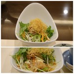 Umenohana - ◆豆腐サラダはお優しの下に豆腐が入り、炒ったナッツが香ばしくいいアクセントに。