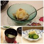 Umenohana - ◆デザートは「バニラアイスの黒蜜掛け」 ◆湯葉のお吸い物。 ◆香の物。