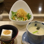 Umenohana - ◆最初に「ごま豆腐」「茶碗蒸し」「豆腐サラダ」が供されます。