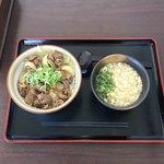元気うどん - 牛スジ丼 &ミニうどん  ¥500+¥200