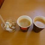 80949370 - 信玄餅ソフト、コーヒー他