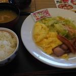デニーズ - デニーズセレクトスクランブルエッグモーニングご飯味噌汁セット