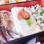 鯖萬 - 焼き鯖ほぐし、〆鯖炙り、ごま鯖の鯖3種に白い出汁巻き?