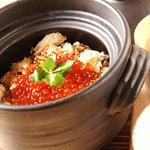 つみき - 料理写真:村上塩引き鮭のハラコ釜飯 1人前930円(2人前から) Vシュランで1位を取った絶品