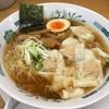 日高屋 - 料理写真:「ワンタン麺(大)」麺大盛り無料券で普通盛りと同じ590円也。税込。