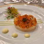 80977773 - 真鯛のタルタル仕立てにキャビアとコンディメントを添えて 二色のマスタードソースの味わい