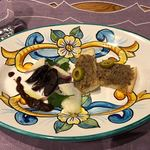 ポルテッツォ - 蝦夷鹿ヒレ肉のブレザオラ(自家製生ハム)と清水しいたけ園原木椎茸のマリネ、鹿児島霧島連山 猪のリゾット クラタペッパー風味
