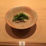 蓮 - 牡蠣の濃厚な出汁とベースのお出汁のマリアージュが印象的です