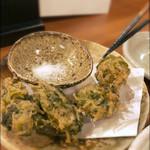 酒場  シナトラ - しらすと木の芽の生海苔磯辺揚げ 480円。サクッと揚がっています。