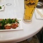 きたや - たこ焼き(青ネギとマヨネーズ付き)と 生ビール(^^)